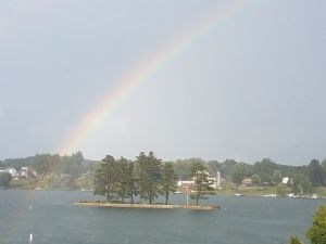 August 17, 2017. Rainbow over Lake Manitou.